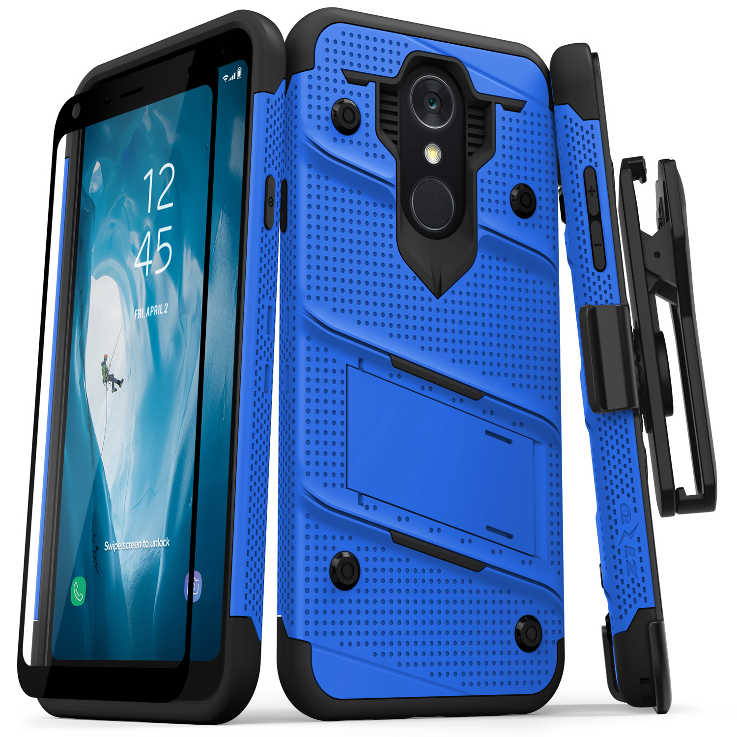 buy popular f47f5 bf12b Zizo Bolt Series compatible with LG Q7+ Case military grade drop tested  with Tempered Glass Screen Protector Holster LG Q7 Plus