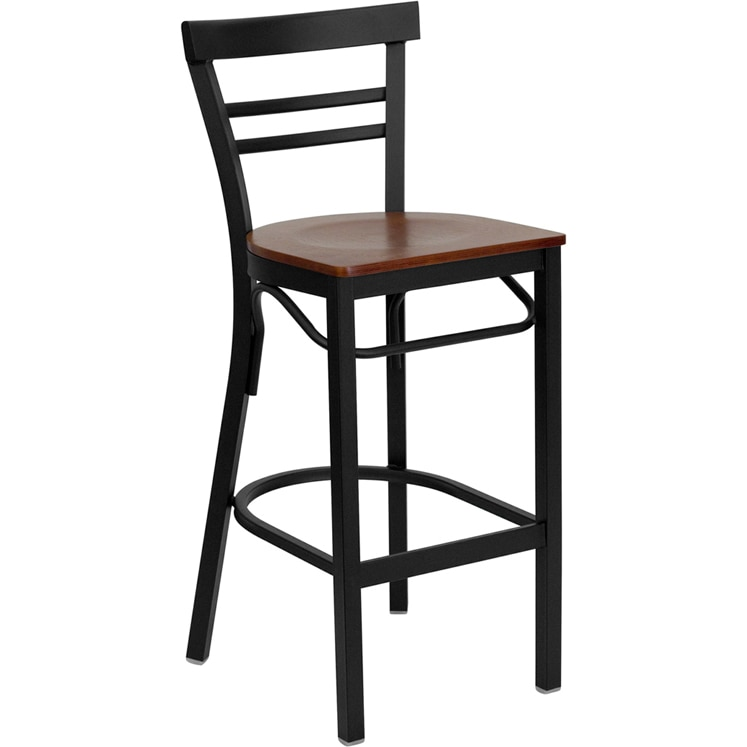 Heavy Duty Dark Metal Bar Height Bar Stool Black Cherry