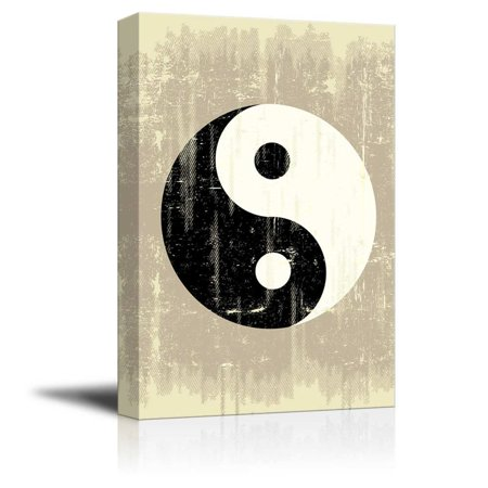 Canvas Prints Wall Art - A Grunge Background with a Yin Yang Symbol for a Publicity - 12