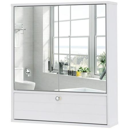 Costway Bathroom Cabinet Double Mirror Door Wall Mount ...