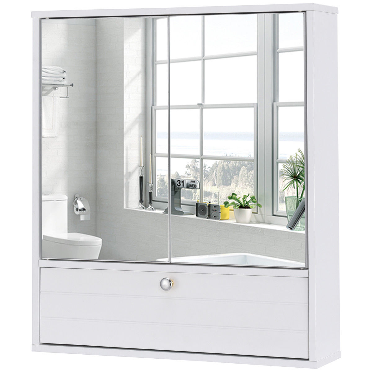 Costway Bathroom Cabinet Double Mirror Door Wall Mount Storage Wood Shelf White