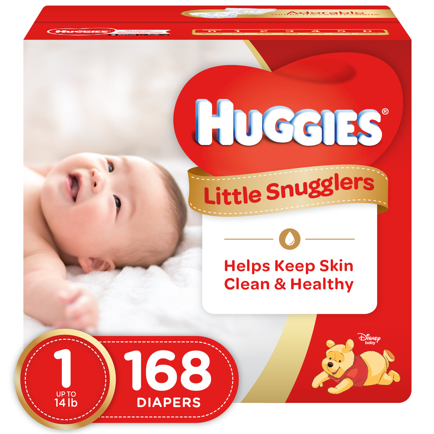 HUGGIES Little Snugglers Diapers Size 1, 168 Diapers