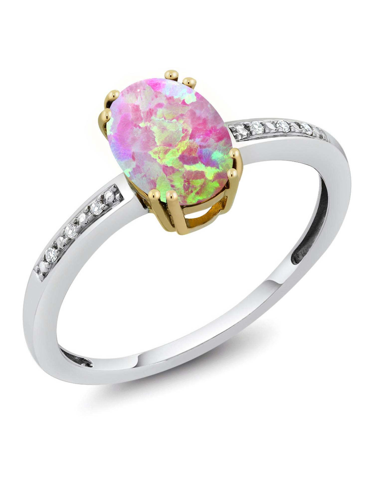 10K Two Tone Gold Women's 1.05 Ct Oval Cabochon Pink Simulated Opal Diamond Ring by