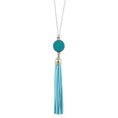 stylesilove Womens Girls Colorful Resin Alloy Leather Tassel Pendant Statement Necklace (Silver Aqua)