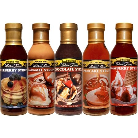 Walden Farms Caramel Syrup/Blueberry Syrup/Strawberry Syrup/Pancake Syrup/Chocolate Syrup - Sweet Syrups 12 oz. x5.