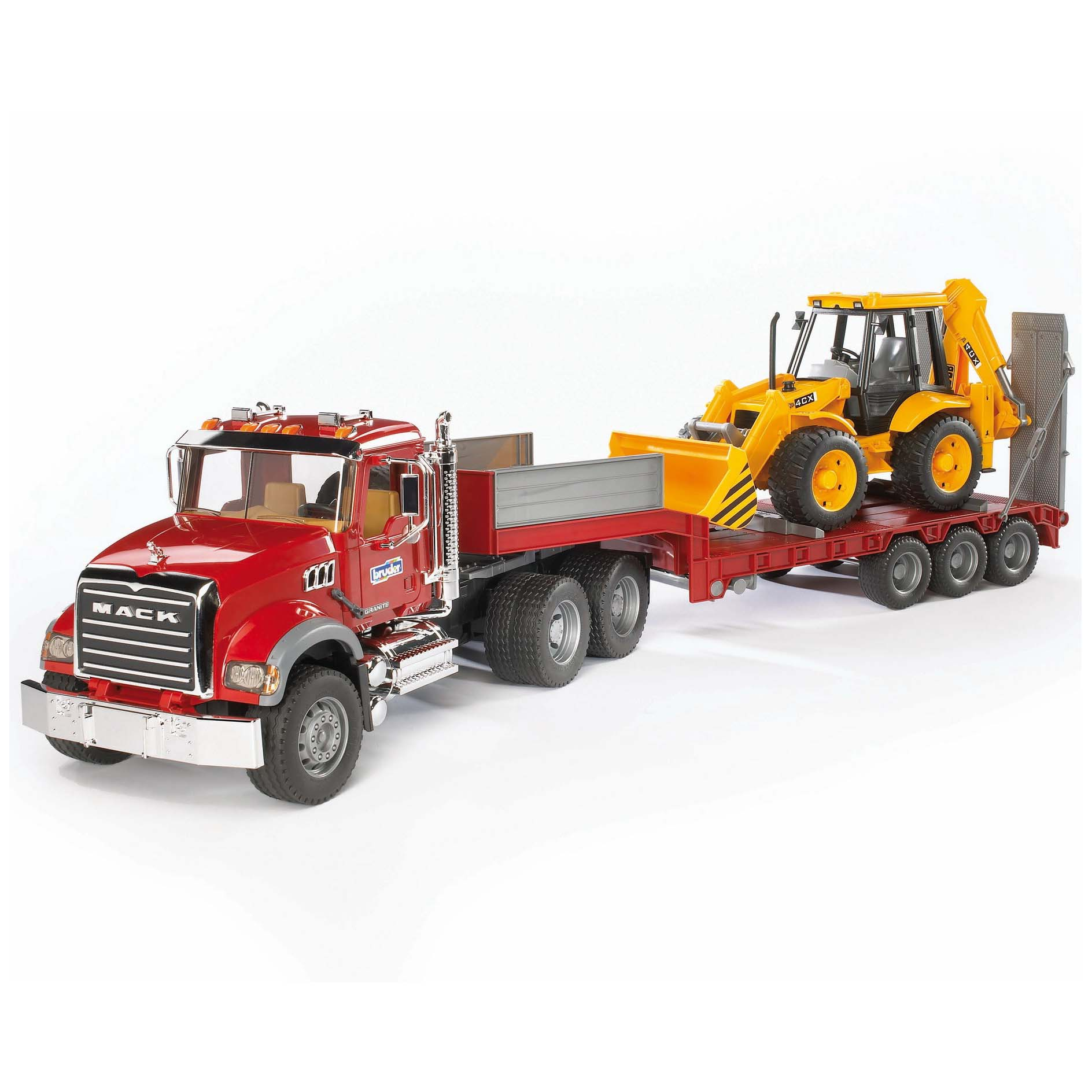 Bruder Toys MACK Flatbed Truck with JCB Loader Backhoe