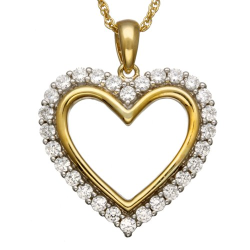 """1.12 Carat T.G.W. CZ 14kt Gold over Sterling Silver Heart Pendant, 18"""""""