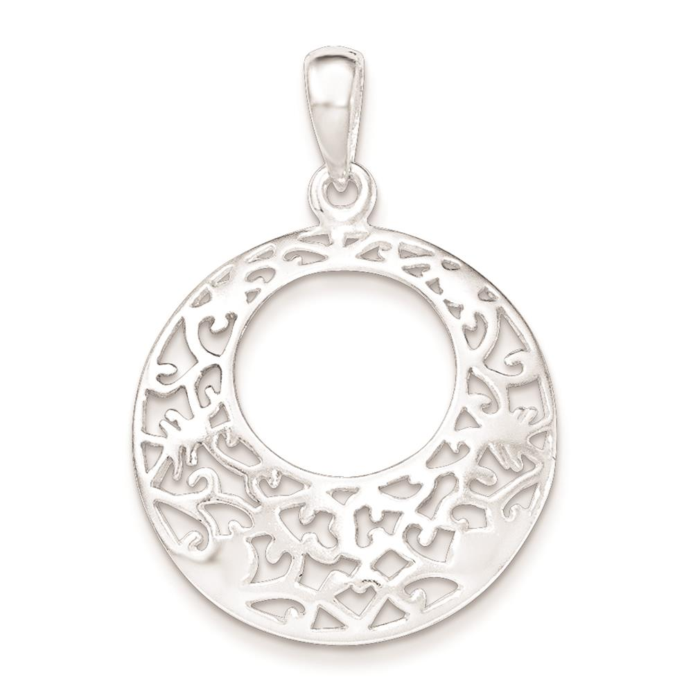 925 Sterling Silver Polished Fancy Round Cut-out Charm Pendant