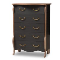 Baxton Studio Romilly Country Cottage Farmhouse Black and Oak-Finished Wood 5-Drawer Chest
