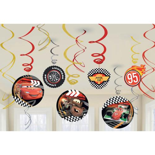 Disney Cars Foil Swirl Hanging Decorations (Each) - Party Supplies