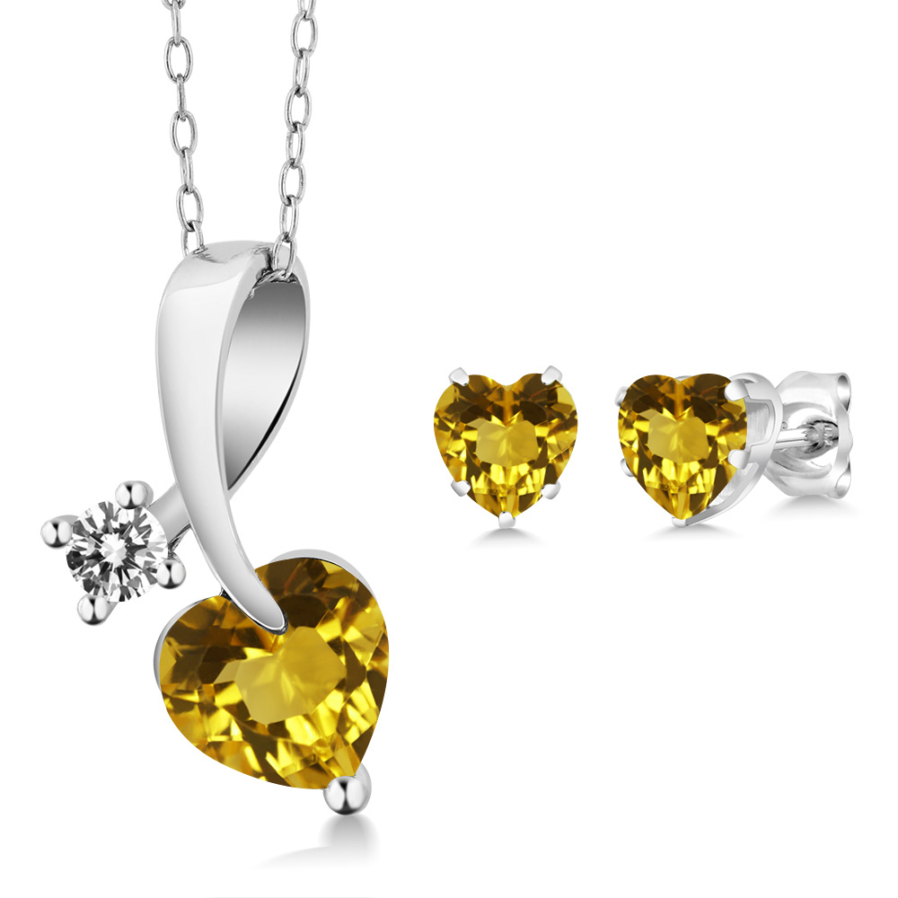 2.07 Ct Heart Shape Yellow Citrine and Diamond 925 Sterling Silver Pendant Earrings Set by