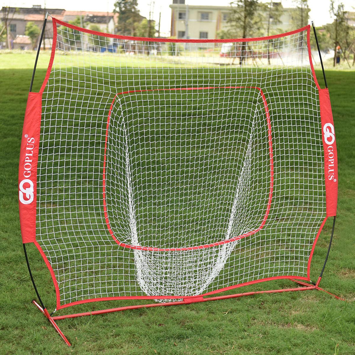 Costway 7x7' Baseball & Softball Practice Hitting Batting Training Net with Bow Frame, Red Bag