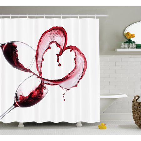 Wine Shower Curtain, Heart Shape with Spilling Red Wine in Glasses Romantic Valentines Day Concept, Fabric Bathroom Set with Hooks, Burgundy White Pink, by Ambesonne