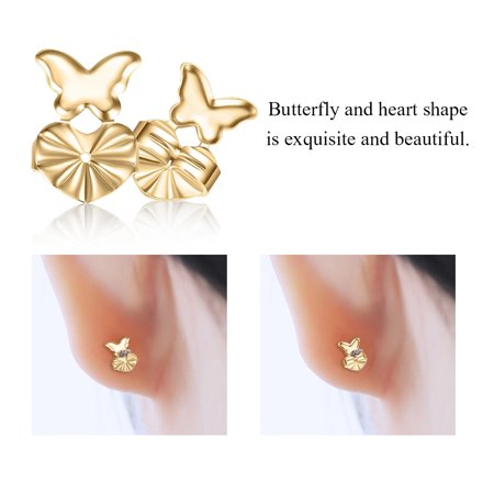 2 Colors 1 Pairs/Set Butterfly and Heart Shape Earrings Lifts,Earrings Back Nut Lifters Lift Copper Ear Lobe Support, Earrings Back,Earrings Back Lifters