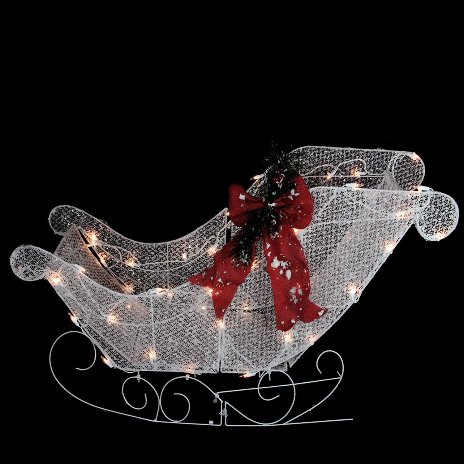 "37"" Pre-Lit Outdoor White Glittering Sleigh Christmas Yard Art Decoration"