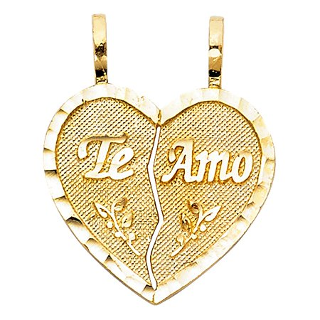 - Te Amo Lovers Couple Love Heart 2 Pcs Pendant Flat Diamond Cut Rough Metal Finish 18mm 14k Yellow Solid Gold Charm Necklace Fine Jewelry Accessory Ideal Gift