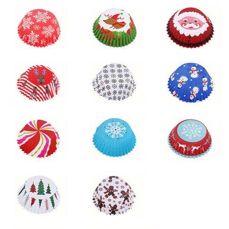 Tuscom 150pcs/set Cut Christmas Birthday Cake Decorating Tools Paper Muffin Cupcake Baking ()