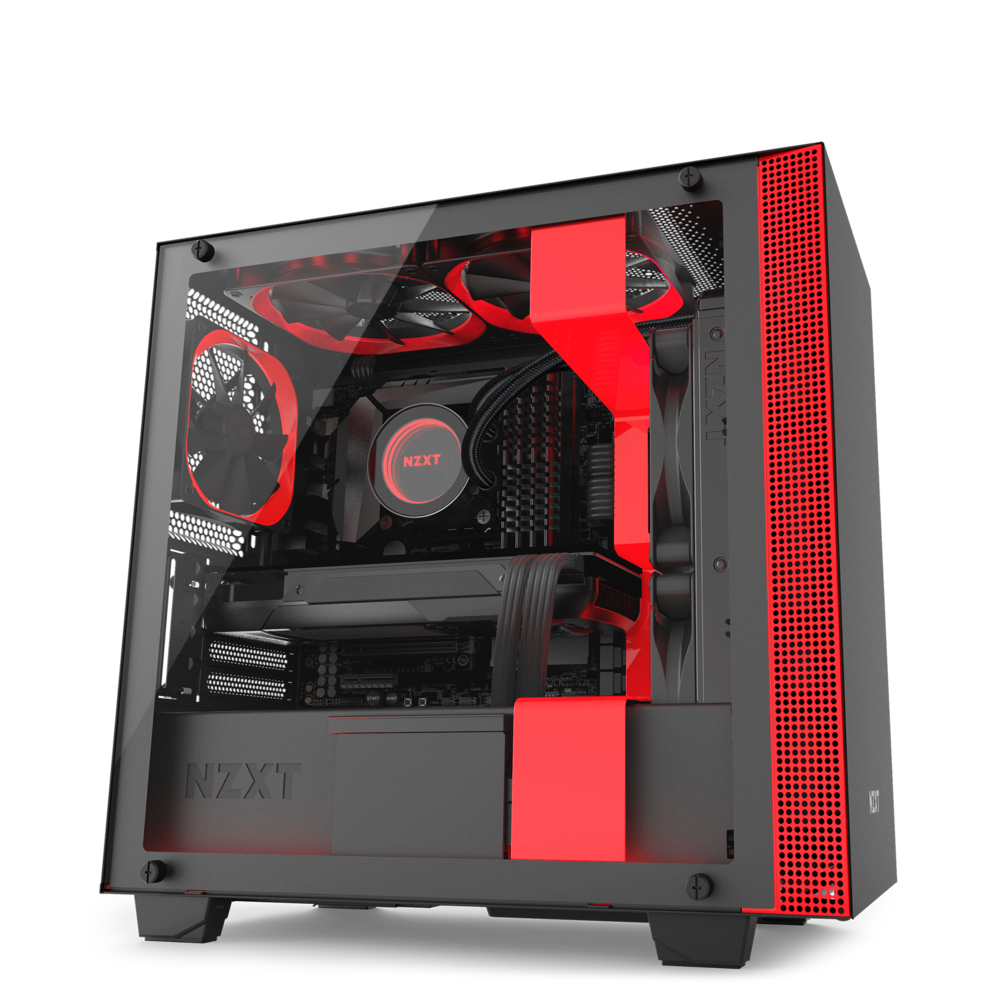 NZXT H400 - MicroATX PC Gaming Case - Tempered Glass - Enhanced Cable Management - Water Cooling Ready - Black/Red