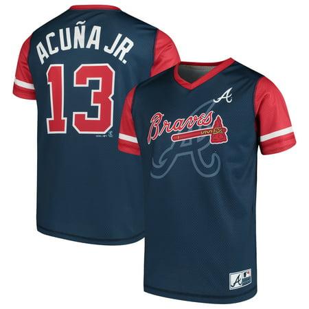 huge selection of e0ce7 e6f56 Ronald Acuna Jr. Atlanta Braves Majestic Youth Play Hard Player V-Neck  Jersey T-Shirt - Navy/Red