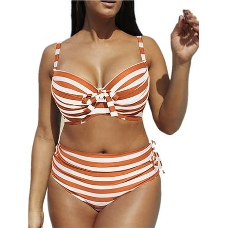 Striped Print Women Slim Plus Size Swimsuit 2 Pieces Swimwear