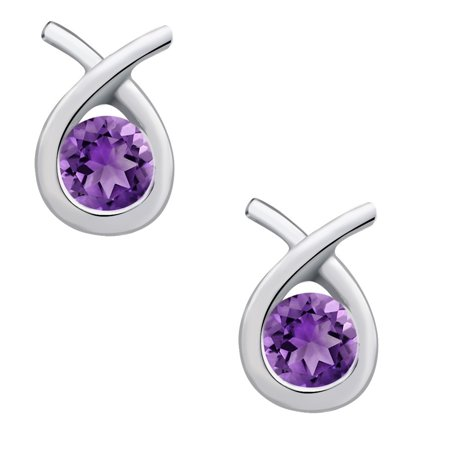 2 Carat Amethyst  Feburary Birthstone Dangle 925 sterling-silver  Earrings for girls by Orchid Jewelry