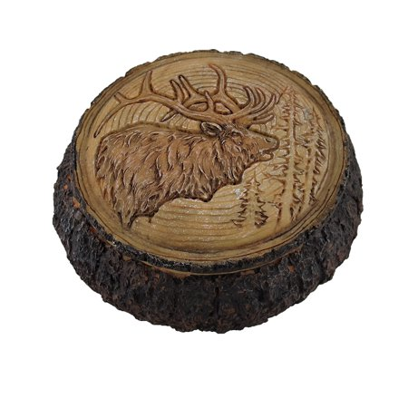 Elk Head Trinket Box Carved Wood Look Stash Box