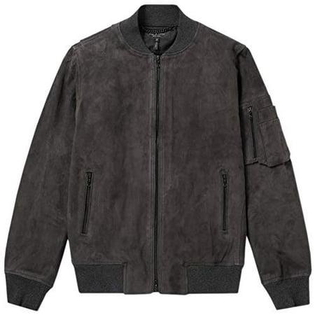 New  rag & bone Men's 100% Goat Leather Suede Manston Bomber Jacket Raven Grey - Rag And Bone Mens