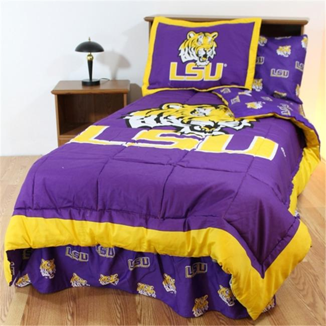 College Covers LSUBBQUW LSU Bed in a Bag Queen- With White Sheets