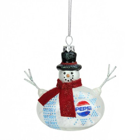 "Northlight 3.75"" Snow Filled Glass Country Snowman Pepsi Christmas Ornament - White/Red"