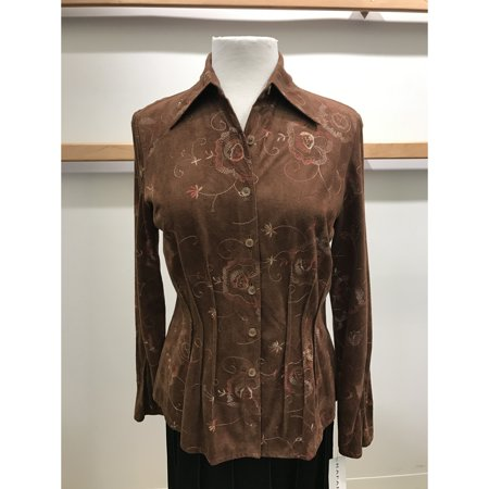 Embroidered Faux Suede Button Front Shirt With Waist Pintucks (Style# 12182)