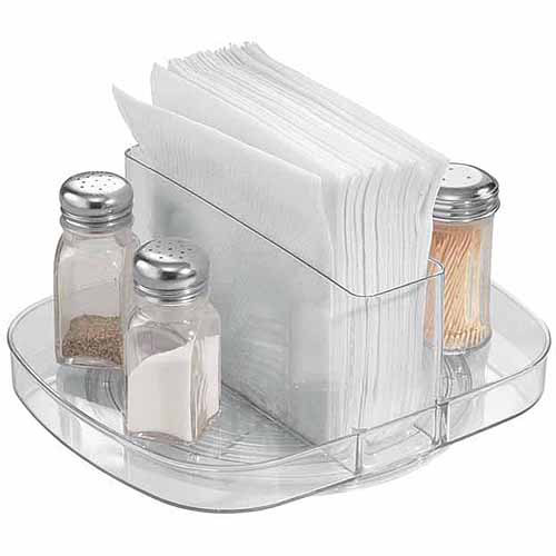 InterDesign Linus Lazy Susan Turntable Napkin and Condiments Holder, Clear