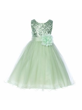 Ekidsbridal Baby Elegant Stylish Glitter Sequin Tulle Flower Girl Dresses Formal Special Occasions Dress Wedding Pageant Recital Reception Princess Birthday Party Ball Gown B-011NF