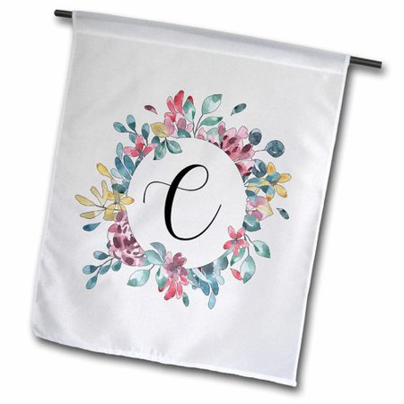 Initial Garden Flags (3dRose Pretty Floral Circle Frame with a Monogram Initial C Polyester 1'6'' x 1' Garden)
