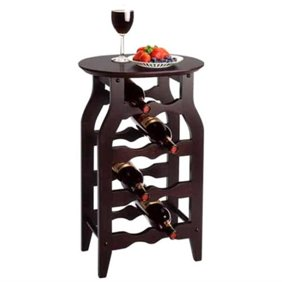 Marsala Rack 12 Bottle Glass Rack Wine Cart With Casters Espresso