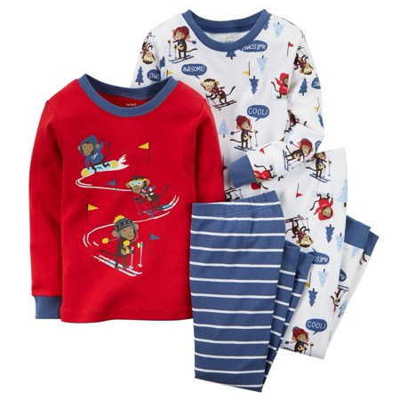 Carters Baby Clothing Outfit Boys 4-Piece Snug Fit Cotton PJs Ski Monkey (Monkey Outfits For Adults)