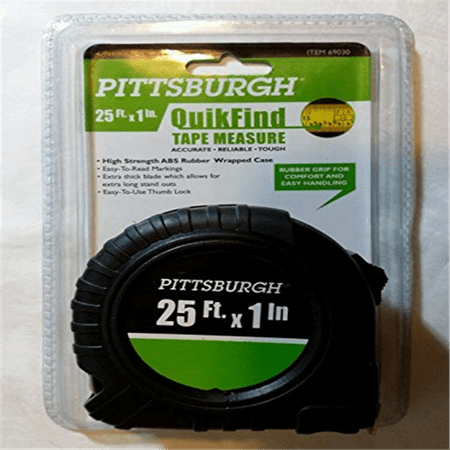 Pittsburgh QuikFind Tape Measure ~ 25 Foot by 1 Inch, Easy to Read, High Strength ABS Rubber Wrapped Case (Black with Orange Trim)