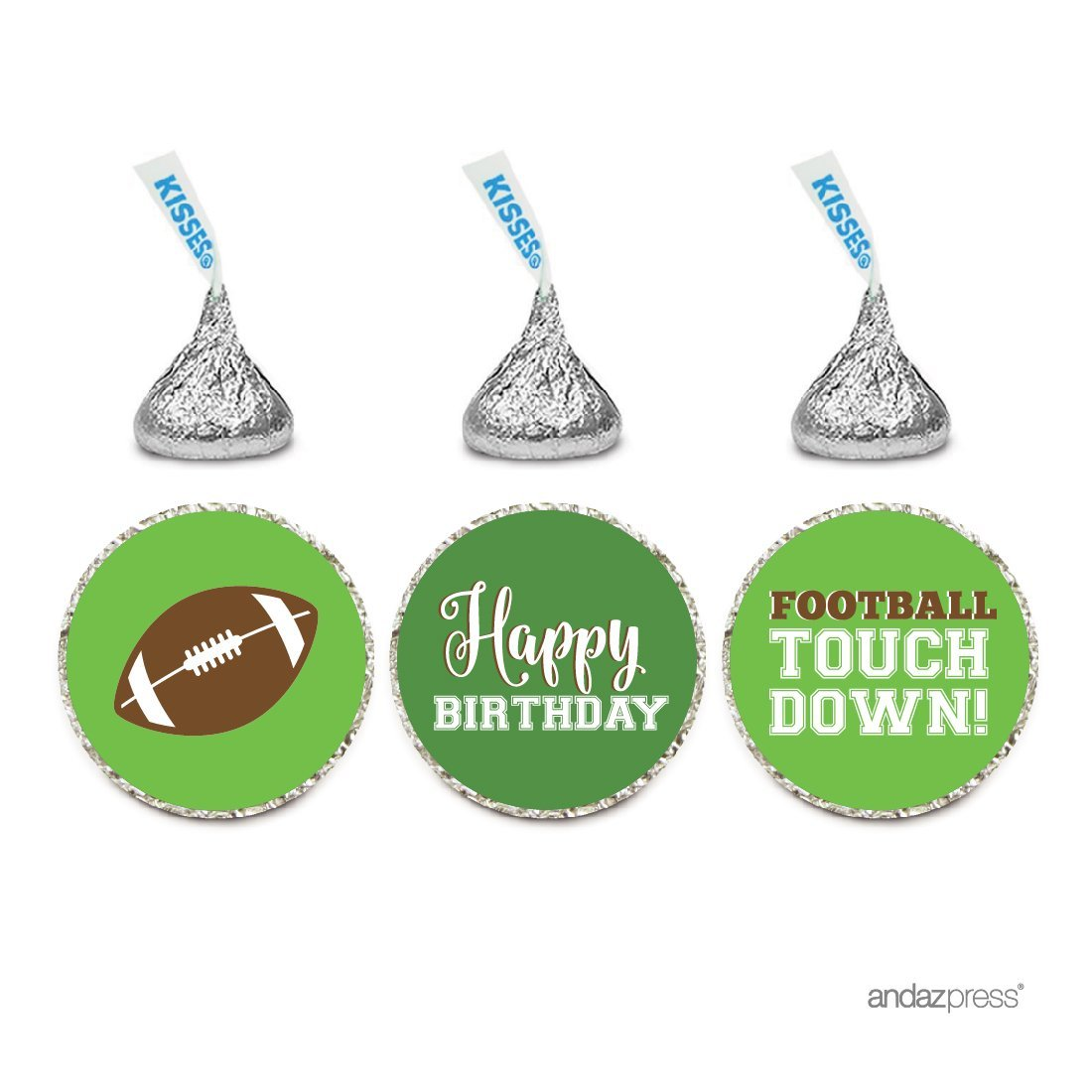 Birthday Chocolate Drop Labels Trio, Fits Hershey's Kisses Party Favors, Football Touchdown! Party, 216-Pack