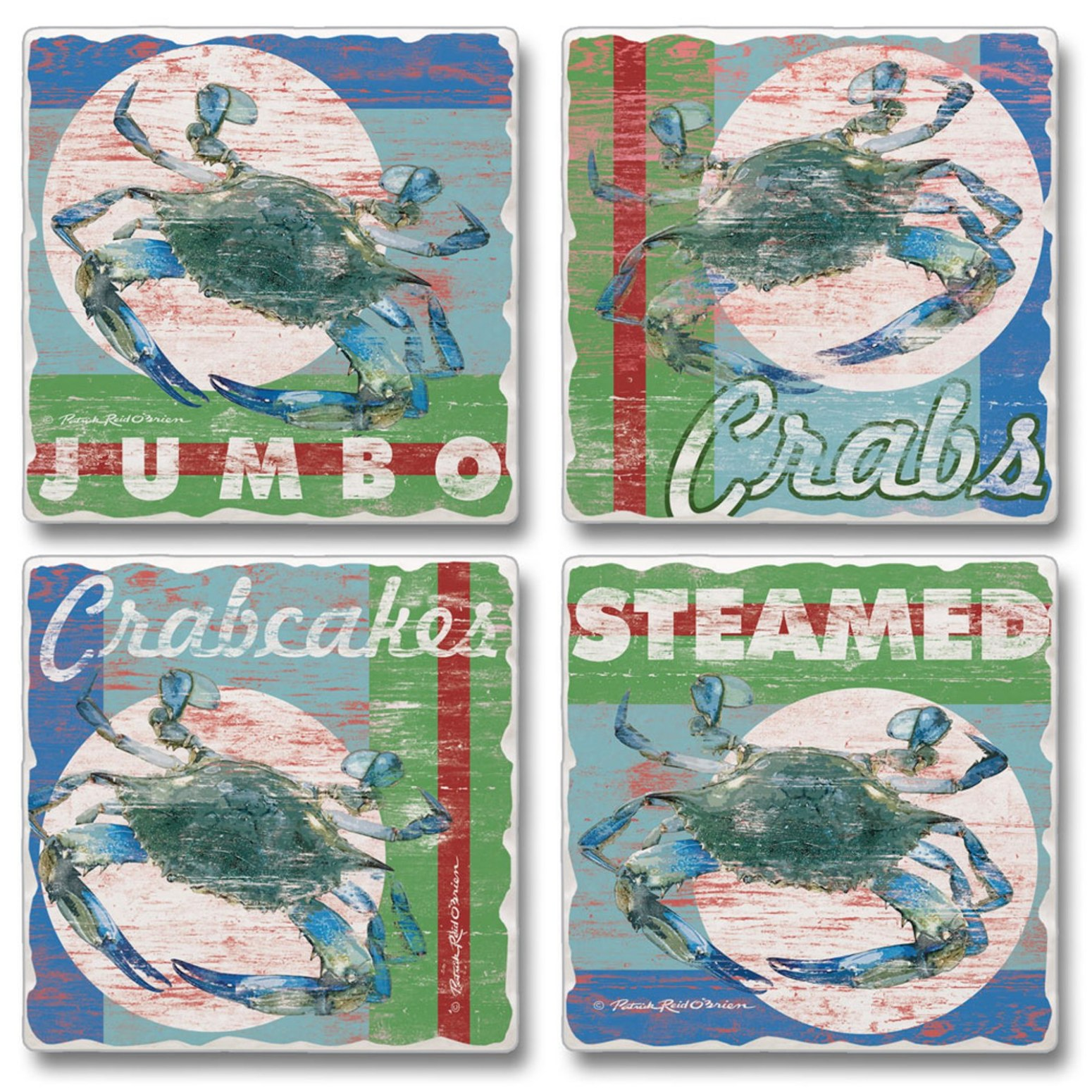 Chesapeake Bay Maryland Blue Crab Absorbent Coaster Set of 4