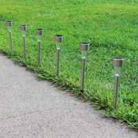 Sunnydaze Outdoor Solar Pathway Garden Lights for Yard/Driveway/Walkway, Stainless Steel, 6 Pack