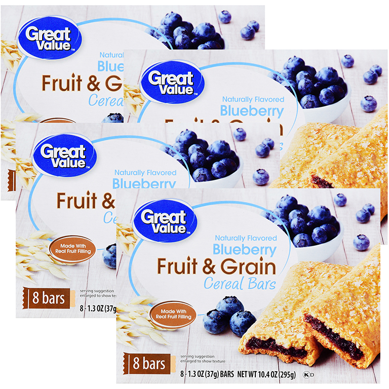 (4 Pack) Great Value Fruit & Grain Cereal Bars, Blueberry, 10.4 oz, 8 Count