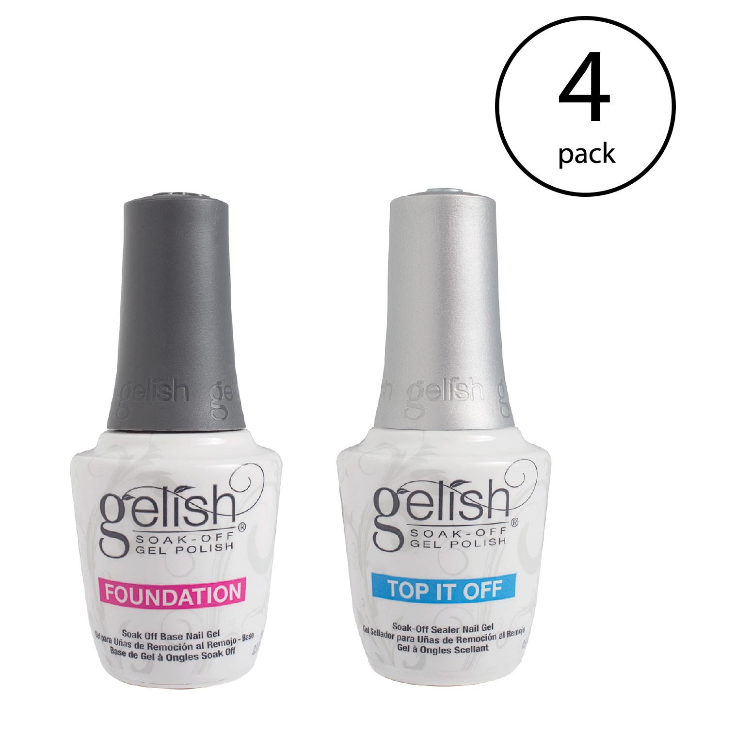 Gelish Dynamic Duo Foundation Base & Top It Off Sealer Gel Nail Polish (4 Pack)