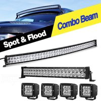 """42Inch Curved LED Light Bar+ 22"""" LED Light Bar Combo+ 4*4"""" PODS for Toyota JEEP SUV 4X4 Offroad,2 Years Warranty"""