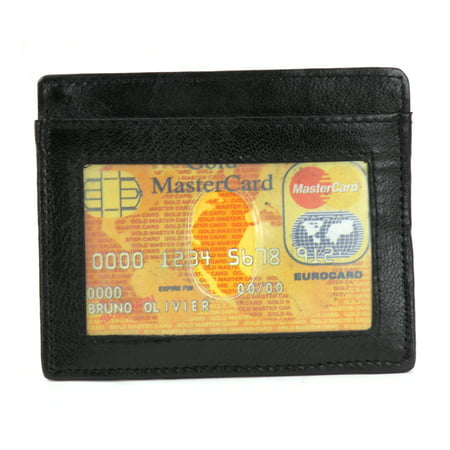 Mens Genuine Leather Slim Money Magnetic Clip Wallet Credit Card Holder and ID Window Display