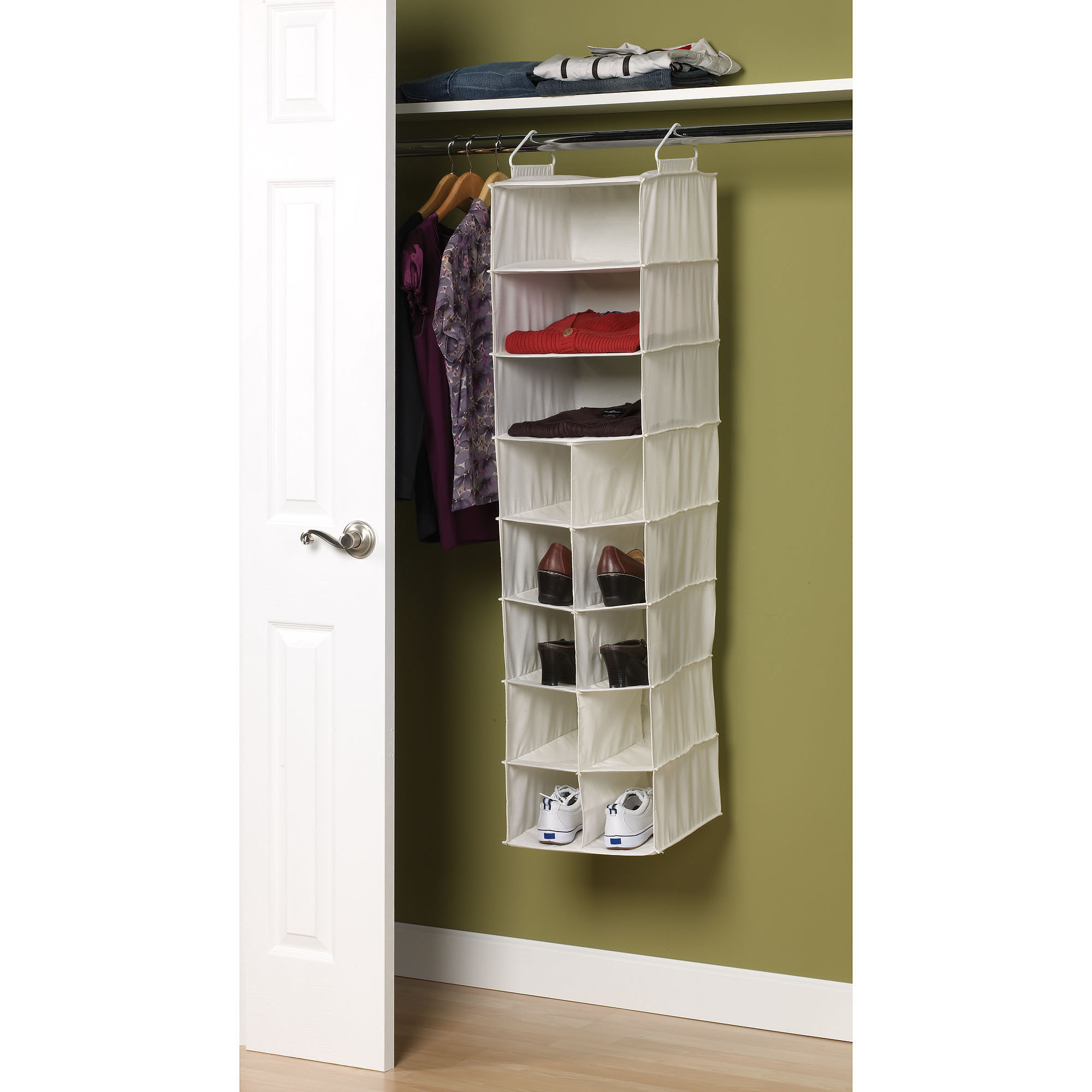 Household Essentials Natural Blended Canvas 10-Pocket/3-Shelf Organizer