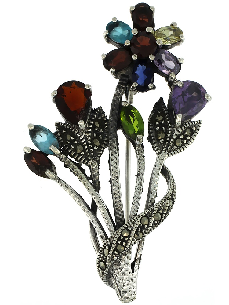Sterling Silver Marcasite Flower Cluster Brooch Pin w  Round, Pear, Oval & Marquise Cut Multi Color Stones, 2 1 4 inch... by WorldJewels
