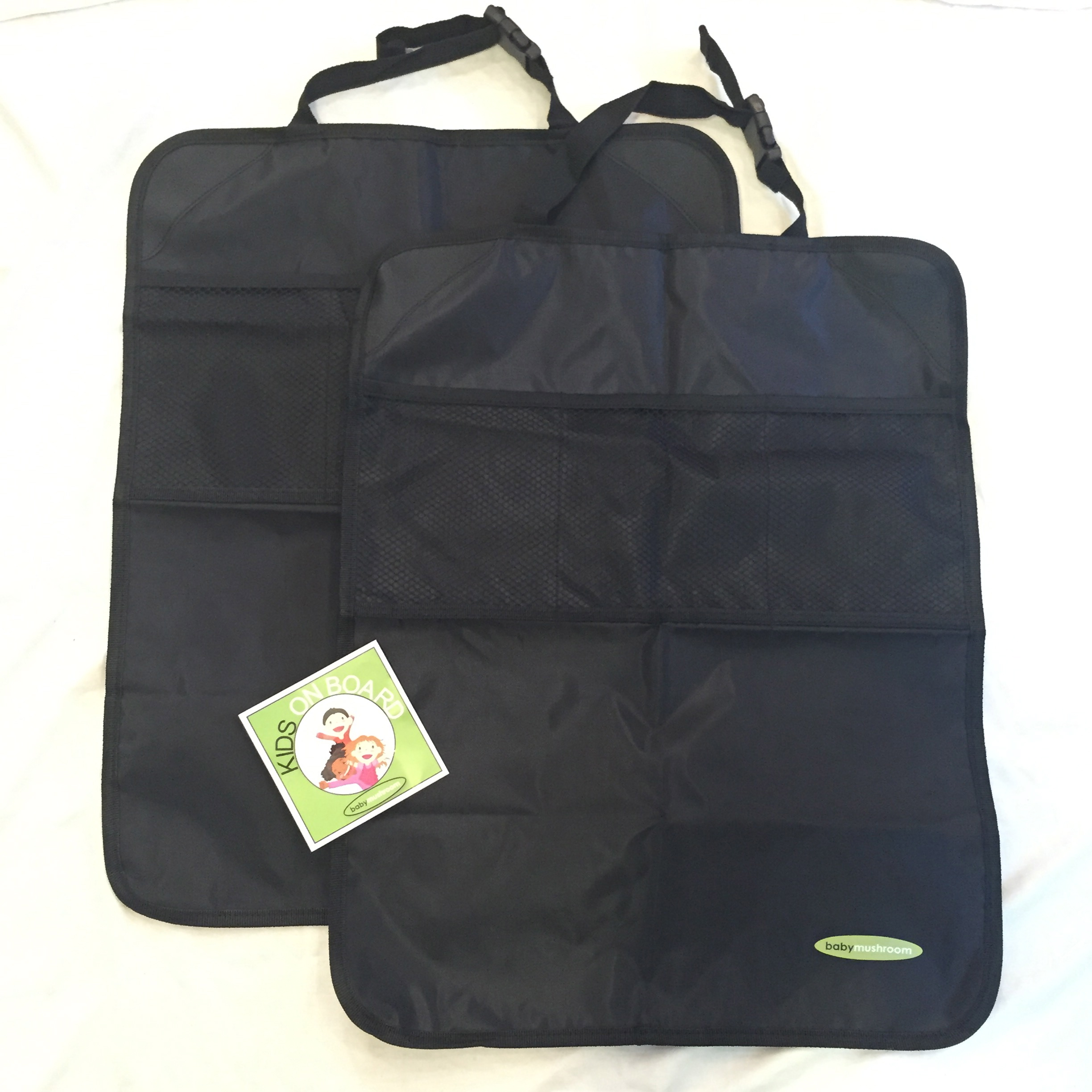 Premium Kick Mats by Baby Mushroom (2 Pack) - Superior Quality Waterproof Car Seat Back Protectors w/ Storage and Reinforced Corners. Bonus Kids on Board Decal! Protects Upholstery, Fabric & Leather.