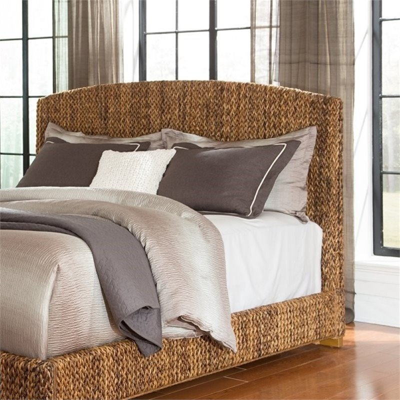Bowery Hill Queen Banana Leaf Platform Headboard in Natural
