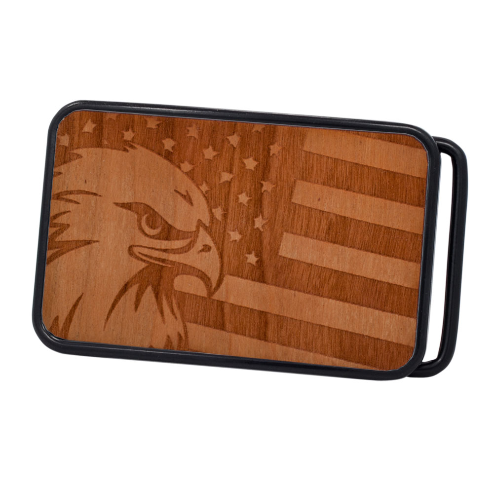 Buckle Rage Patriotic American Flag & Bald Eagle Etched Real Wood Art Belt Buckle, BLACK, W1046-162-BLK