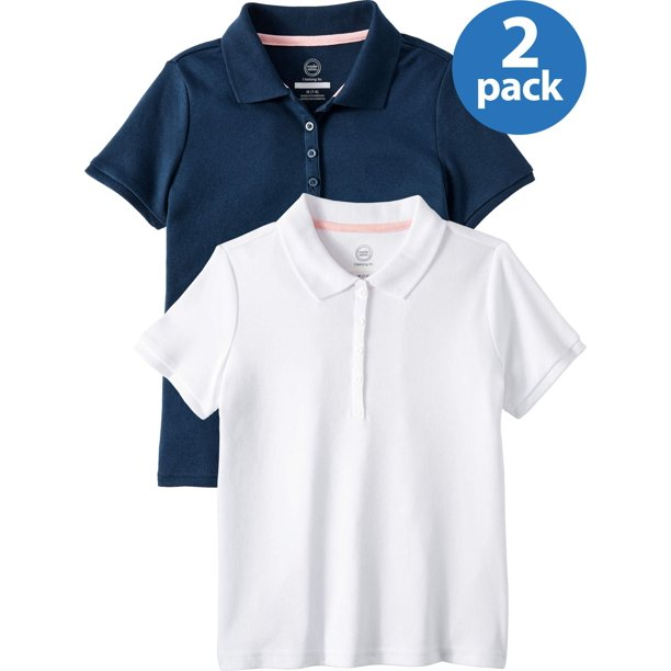 Wonder Nation Girls School Uniform Short Sleeve Interlock Polo Shirt, 2-Pack Value Bundle, Sizes 4-18