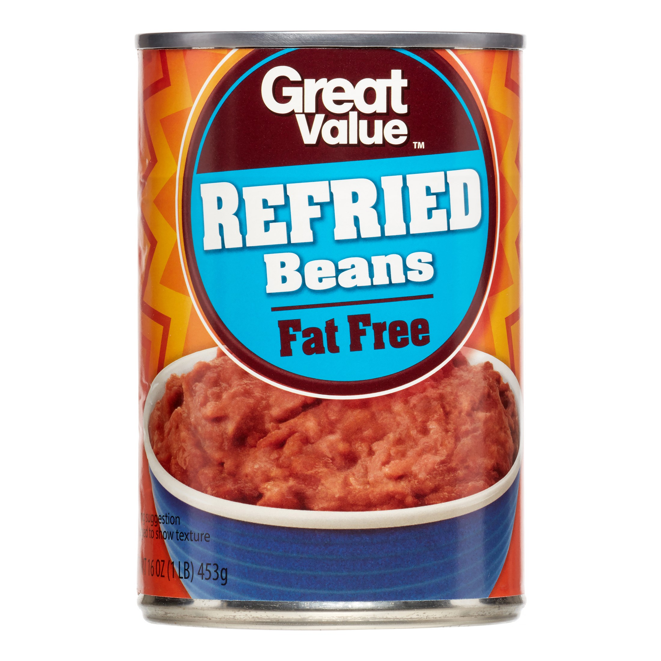Great Value Refried Beans, Fat Free, 16 Oz